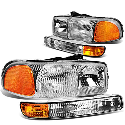 - For GMC Sierra GMT800 Pair of OE Style Chrome Housing Headlights w/Amber Corner Bumper Lights