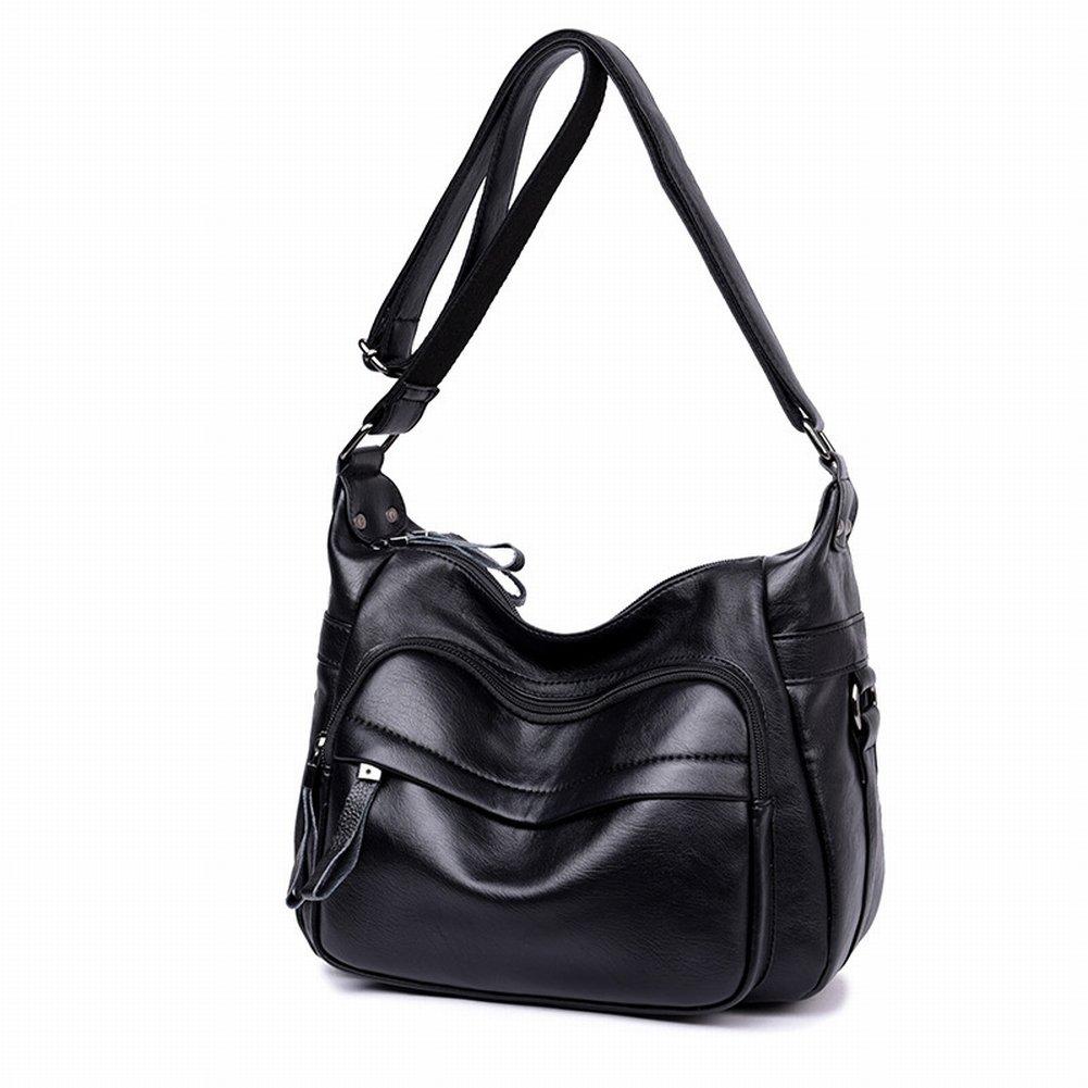 Damen Tasche Allgleiches Große Ledertasche Schulter Messenger Bag , schwarz