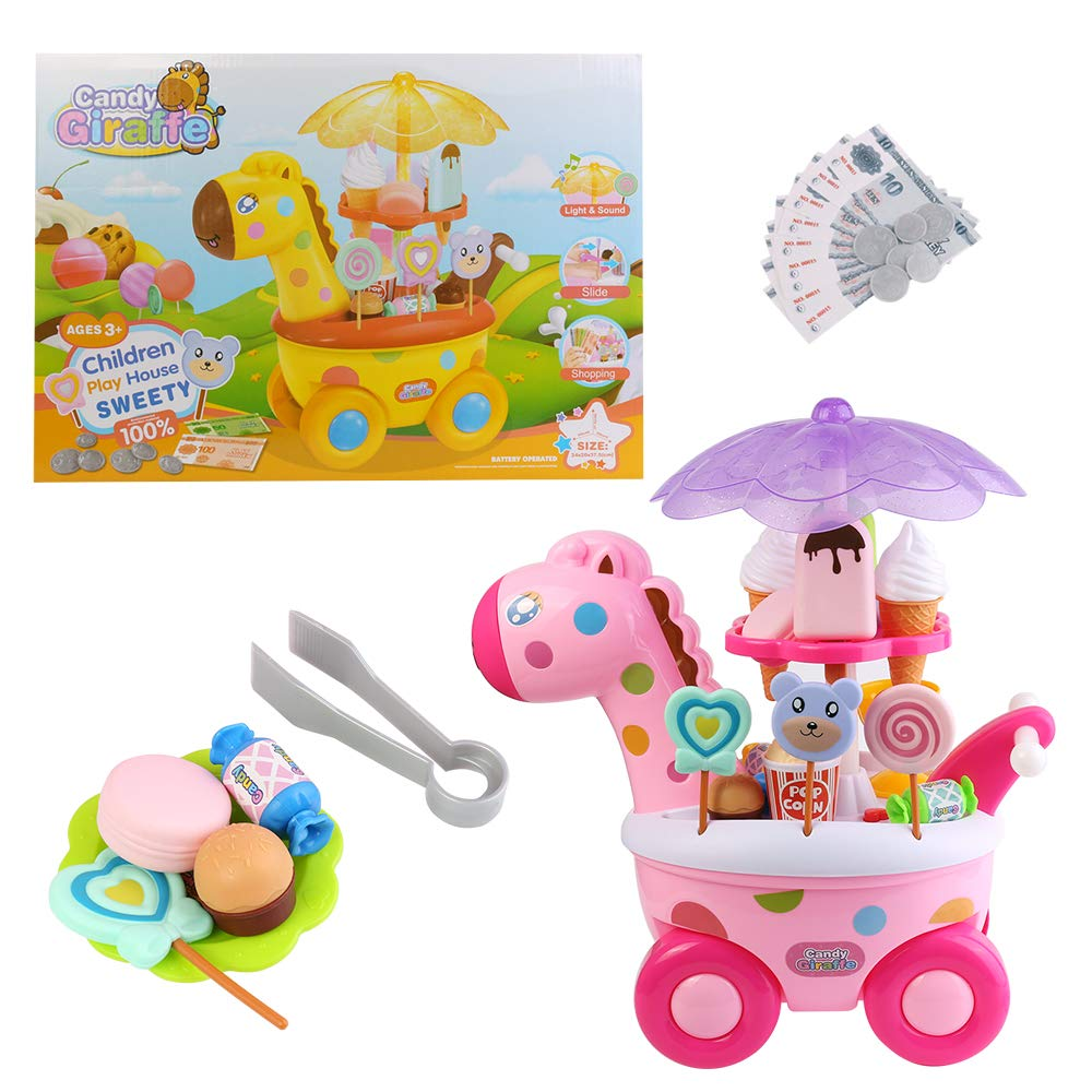 Blue Block Factory Ice Cream Cart Candy Play House Set Giraffe Truck Pretend Play Toy Food Dessert and Cash Supermarket Trolley Set Toys with Rotating Light and Music, Thanksgiving for Girls and Kids