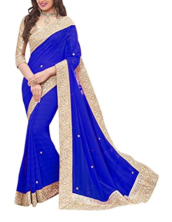 prevalent factory full range of specifications Lady Wear Women's Net Saree (Blue): Amazon.in: Clothing ...