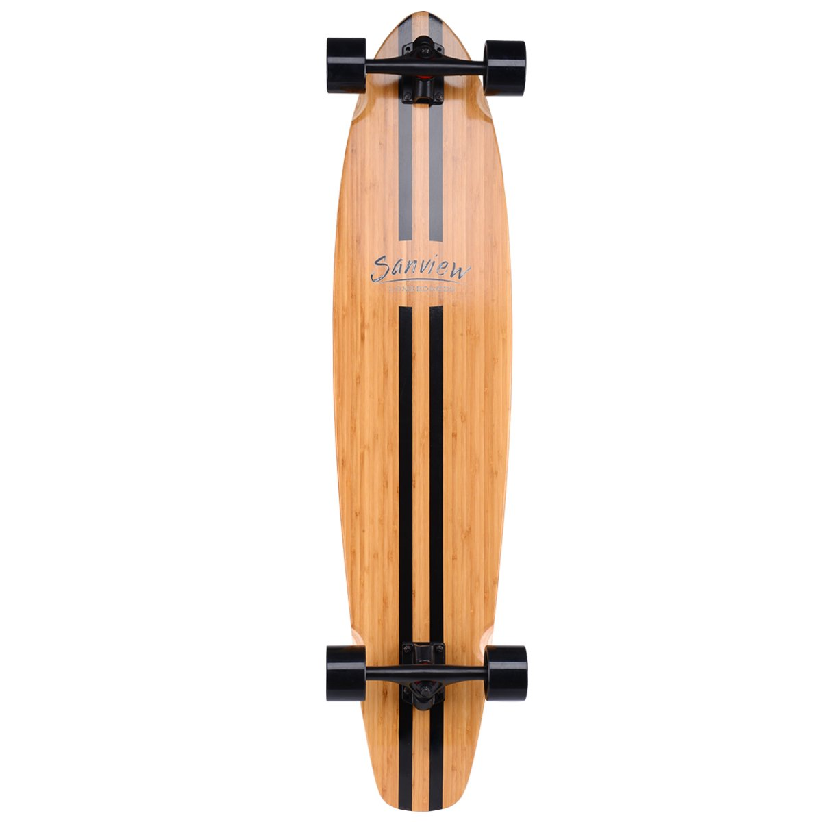 Sanview Bamboo Longboard Skateboards Cruiser (Black Pipeline)