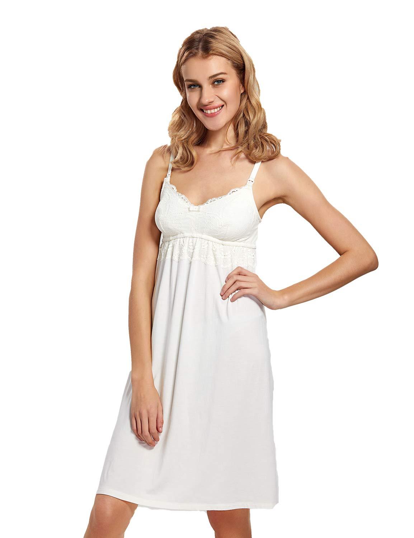 MOMANDA Women's Maternity Dress Nursing Nightgown Breastfeeding Sleepwear Ivory by MOMANDA