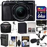 Fujifilm X-E3 4K Digital Camera & 18-55mm XF Lens (Black) with 64GB Card + Case + Video Light + Mic + Battery & Charger + Tripod + Filters Kit