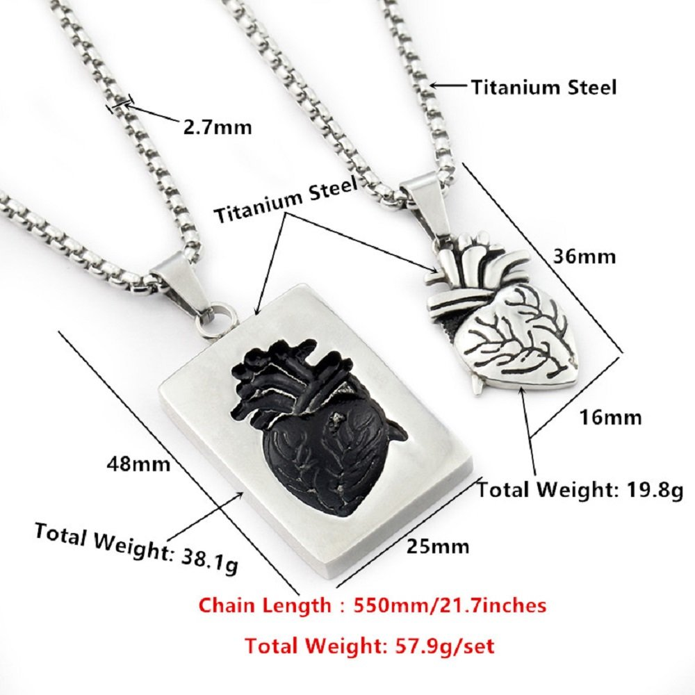 Anatomical Heart Shape and Rectangle Bar Heart Pendant Necklace 2 for set Best Friend Fashion Jewelry Gift
