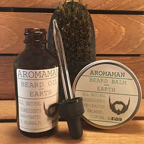 Aromaman Beard Care All-Natural Hand Crafted Beard Oils, Balms and Beard Brush. Choose your scent and size by Aromaman Beard Care