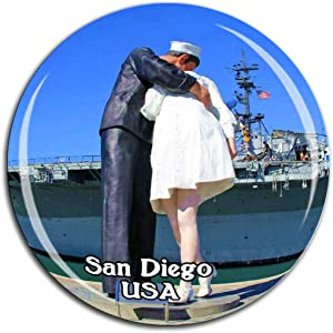 USS Midway Museum San Diego America USA Fridge Magnet 3D Crystal Glass Tourist City Travel Souvenir Collection Gift Strong Refrigerator Sticker