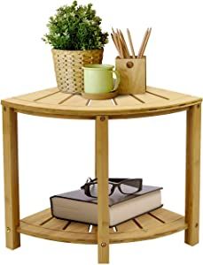 Sorbus Corner Shower Stool Bamboo Bench with Shelf — Waterproof 2-Tier Wood Storage & Seat for Bathroom, Shower, Spa, Sauna