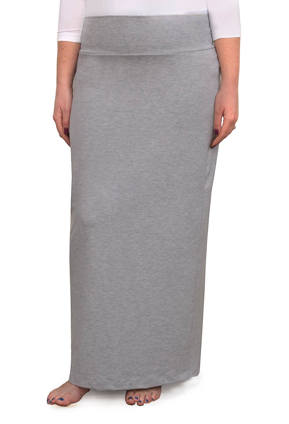 Kosher Casual Women's Modest Cotton Stretch Long Maxi Pencil Skirt Large Heather Grey