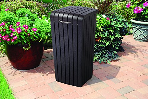 Keter Pacific 32 Gallon Resin Large Outdoor Trash Can With
