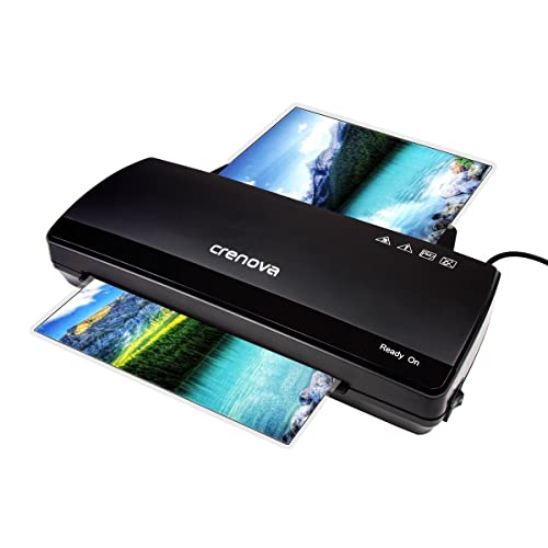Laminator, Crenova LT01 Laminating Machine 2 rollers with 250mm/min Quick Warm-up Laminating Speed, 230mm A4 Max Width for Document/Photo/Hand Card + 10 Laminating Pouches