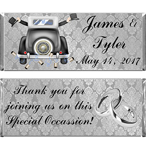 Gay Men Wedding Personalized Custom Reception Party Favors WRAPPERS ONLY for Hershey's Chocolate Candy Bars Set of 24 - Hershey Candy Wrapper