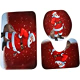 CYCTECH Merry Christmas Home Non-Slip Bathroom Multiple Pedestal Rug + Lid Toilet Cover + Bath Mat (D)