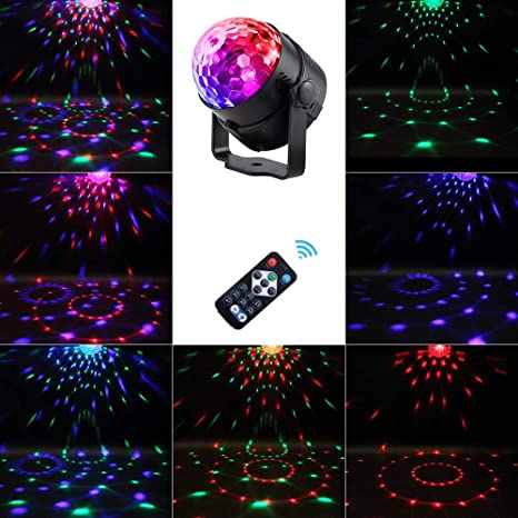 YLOVOW 7 Colores DJ Disco Bola De Iluminación 3W Sonido ...