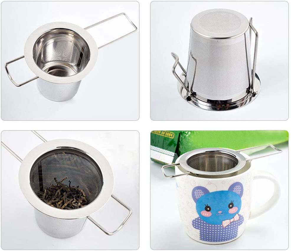Gwolf Stainless Steel Tea Warmer Teapot Warmer with Hollow Frame Design Candle Holder for Glass Teapots Stainless Steel Tea Strainer Steeper Filter with Folding Handle for Loose Leaf Tea Infuser
