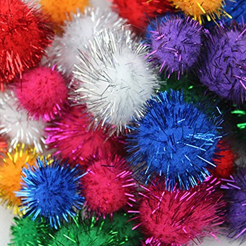 TECH-P Glitter Pom Poms Sparkle Pom Balls Pet Toy Ball-Big Size Assorted Color -2 Inch with Tinsel,100 Pack ()