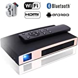 Mini Projector(2018 Upgraded), MOTOU DLP Portable Video LED Projector HD Supports 3D/HDMI/Bluetooth/USB/WIFI/1080P/iPhone/Android, Rechargeable Multimedia outdoor Pico Projector for Game/Office/Party