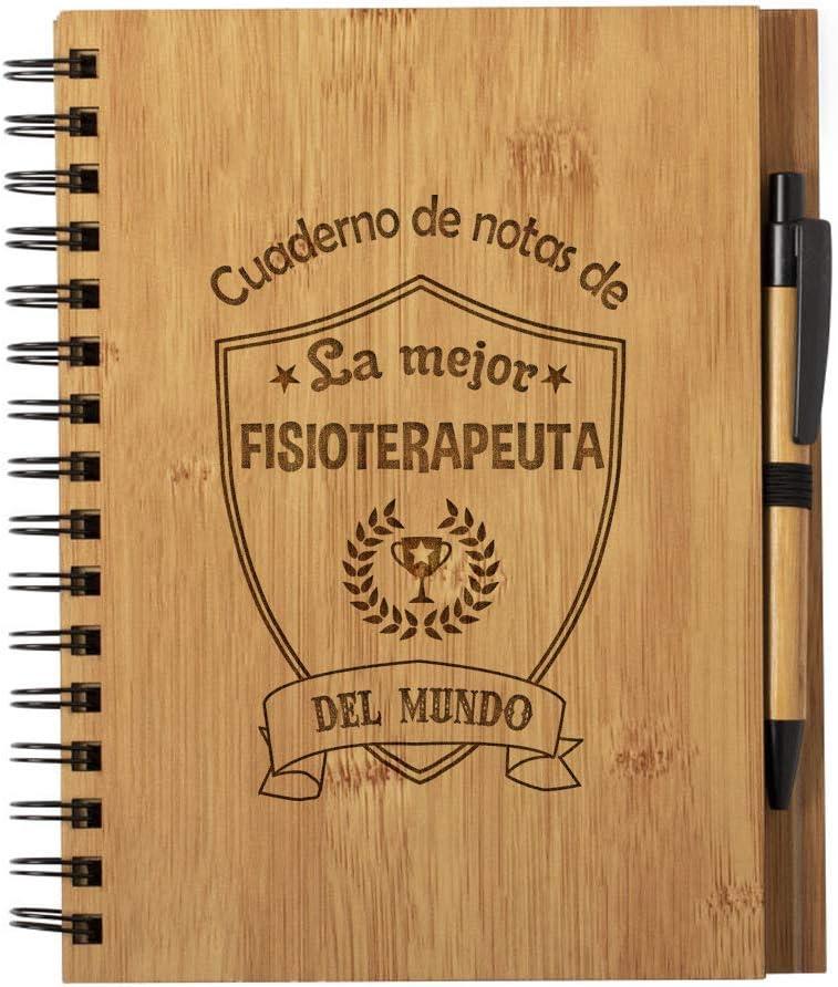 Cuaderno de Notas la Mejor Fisioterapeuta del Mundo - Libreta de Madera Natural con Boligrafo Regalo Original Tamaño ...