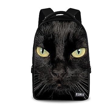 a444188ee6d Amazon.com   HUGS IDEA Fashion Black Cat Head Backpack Student Laptop  Travel Shoulder Bag for Men Wome   Kids  Backpacks