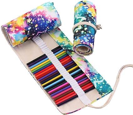 Estuche enrollable, 48 lápices de colores, estuche de viaje enrollable organizador de acuarela, lona enrollable, gran organizador para niños adultos colorear libro (no lápices): Amazon.es: Oficina y papelería