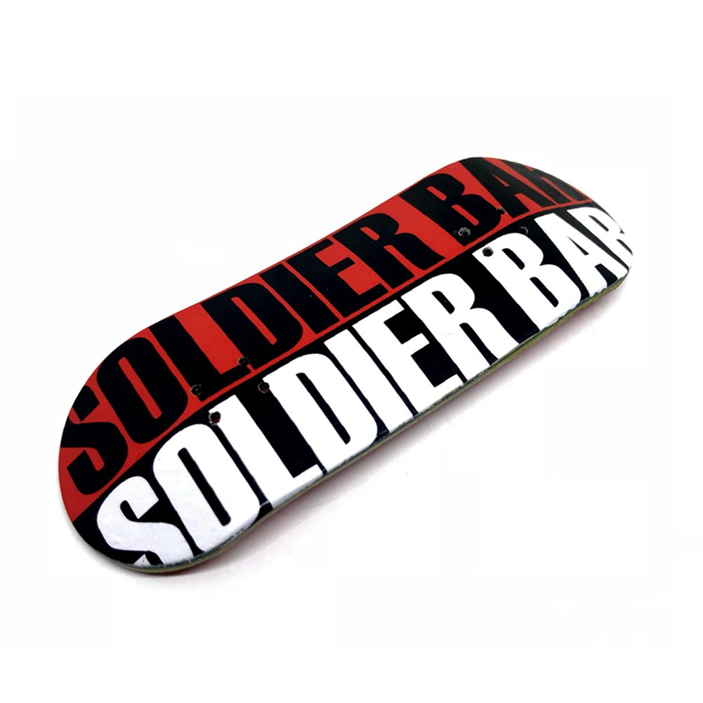 SOLDIER BAR Fan Team 8.0 Wooden Fidget Fingerboards for Toys Which can Relax People (Red White Logo,Deck,Truck,Wheel 1 Set) by SOLDIER BAR (Image #2)