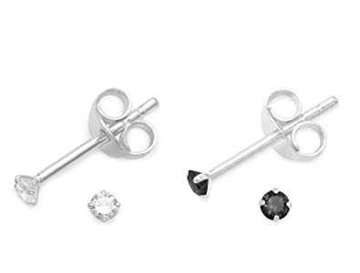 ad2f8792d Set of 2 PAIRS Sterling Silver Cubic Zirconia stud Earrings - SIZE: TINY 2mm  -