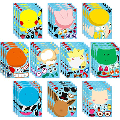 Ticiaga 40pcs Pikachu Make-a-face Stickers Sheets, Make Your Own Pikachu Stickers Fun Craft Project for Kids, 40pcs Pikachu Mix and Match Stickers for Party Favor Supplies, Class Reward, Book Decor