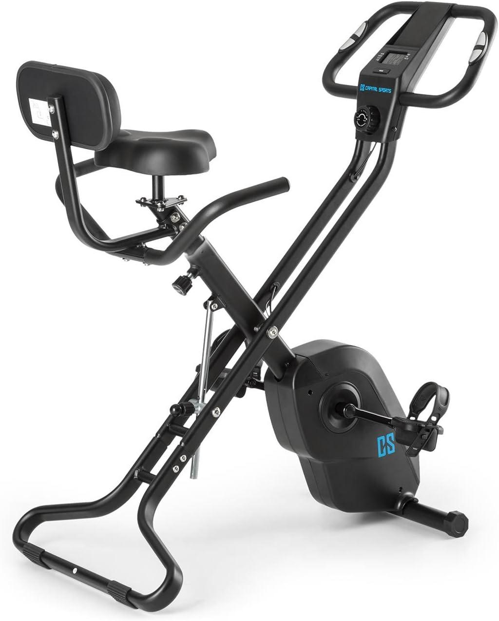 Capital Sports Azura X1 - Bicicleta Fija, Bicicleta estática de Cardio, medidor de Pulso, Plegable, Peso a rotar de 4 kg, 7 Alturas, Respaldo, Soportes Laterales, máx. 120 kg, Negro