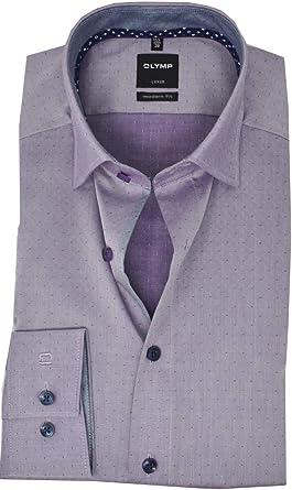 Olymp Luxor Modern Fit Camisa para Hombre en Lila Morado 45: Amazon.es: Ropa y accesorios