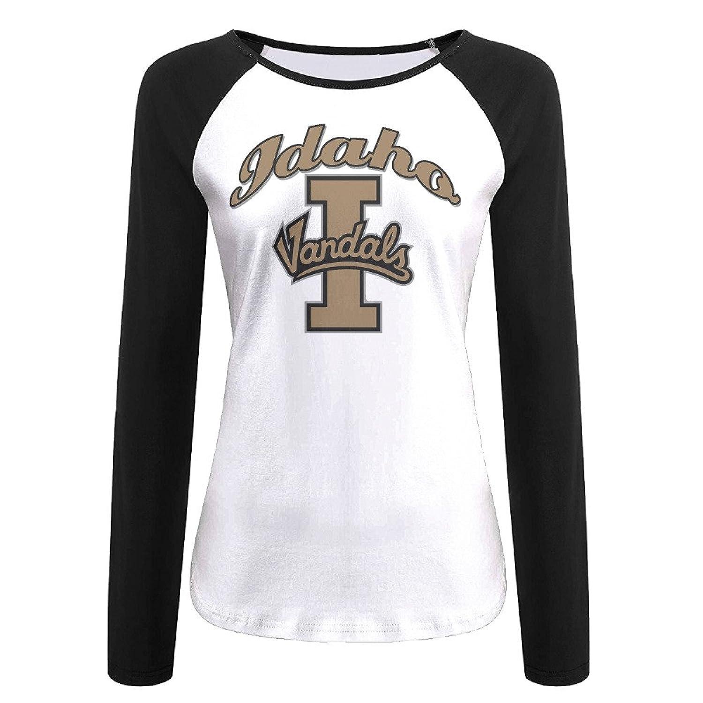 Women's Idaho Vandals 100% Cotton Long Sleeve Athletic Baseball Raglan Shirt