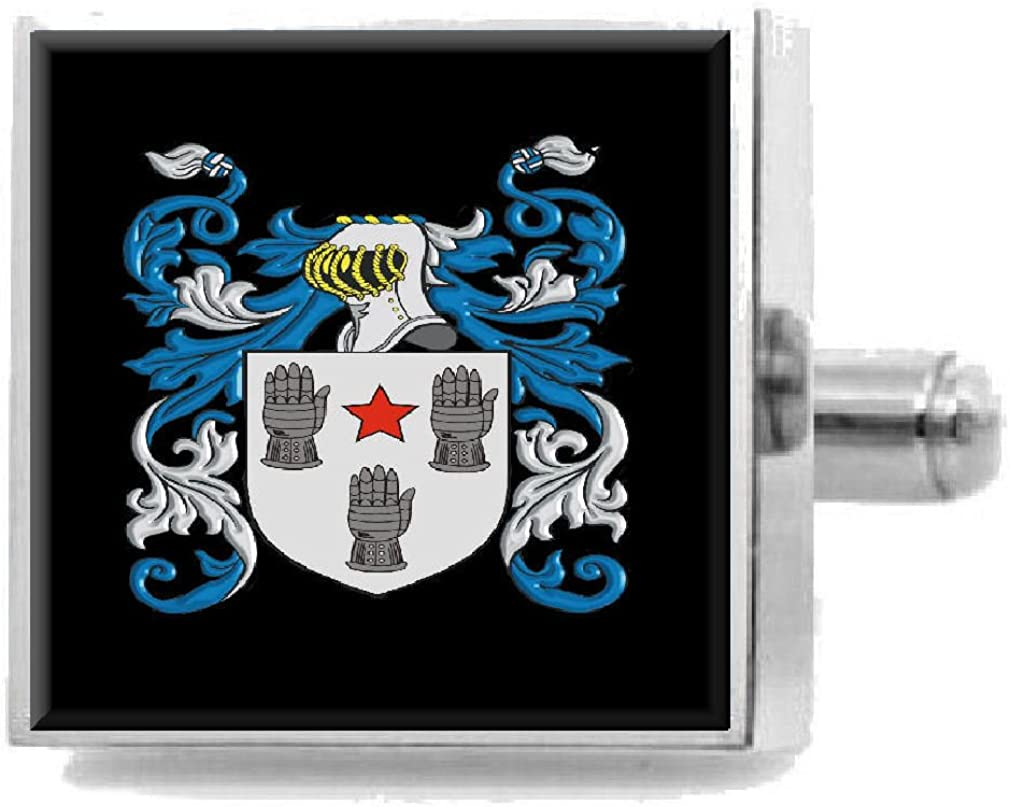 Select Gifts Parks England Family Crest Surname Coat Of Arms Cufflinks Personalised Case