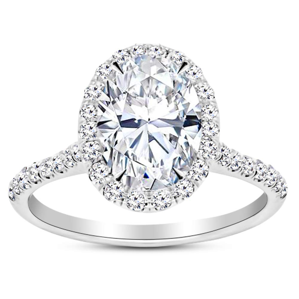 1.23 Carat GIA Certified 14K White Gold Halo Oval Cut Diamond Engagement Ring (0.73 Ct E Color VS1 Clarity Center) by Diamond Manufacturers USA