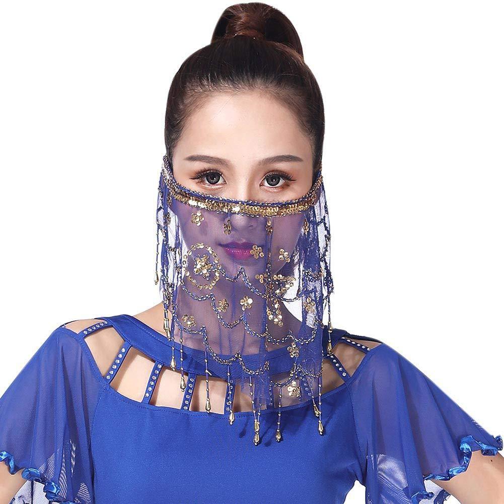 Hankyky Dance Face Veil Damen Bauchtänzerin Pailletten Quasten Gesicht Schleier Kostüm Zubehör