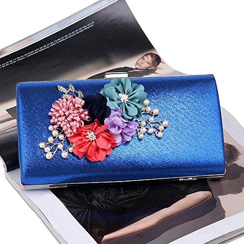 Fleurs Mariage La Appliques Sacs KYS Dîner Les blue Sacs de Femme Jour Pochettes Sacs Chaîne Soirée Motif Iqwv0Tqz