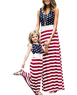 ac5073cc08b2 4th of July Mommy and Me American Flag Striped Dot Patchwork Long Maxi Dress  Beach Sleeveless