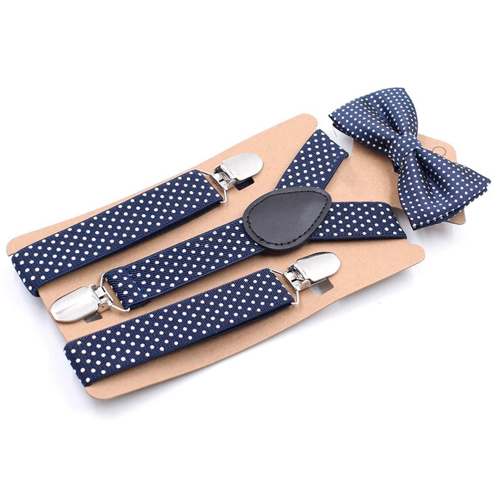 Taglia Libera Set di Bretelle con Papillon e Bretelle Elastiche Ideale Come Regalo di Compleanno per Bambini MElnN con Papillon e Pois Blue