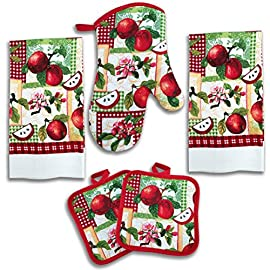 """American Mills Kitchen Towel Set 5 Piece Towels 84 Includes: 2 towels, 2 potholders, 1 oven mitt 2 each Kitchen Towels: 25"""" by 15"""" perfect for everyday use 1 each Oven Mitt: length 12"""" widest 7"""" print side is 100% cotton solid color is poly/cotton blend"""