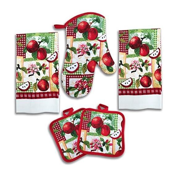 Kitchen Towel Set 5 Piece Towels Pot Holders Oven Mitt Decorative Design Everyday Use 5 Piece Set, Farm Rooster