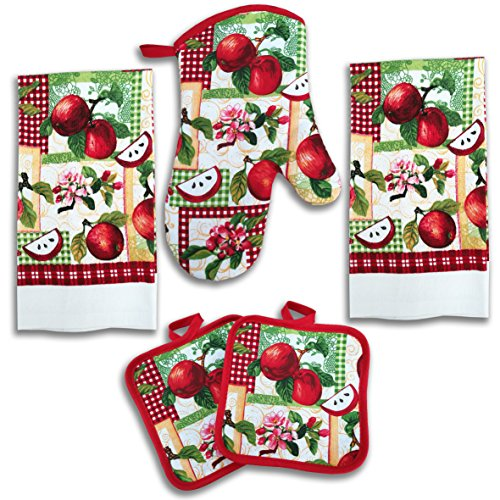 American Mills Juicy Apple Decor 5 Piece Printed Kitchen Linen Set Includes Towels Pot Holders Oven Mitt
