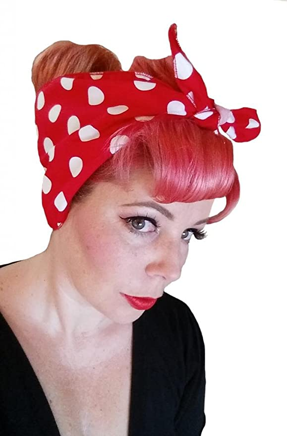 Vintage Scarf Styles -1920s to 1960s Spellbound Bows Red with Big White Polka Dots Double Wide Headwrap $12.00 AT vintagedancer.com