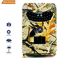 XJW Hunting Camera, 12MP 1080P Full HD Trail Camera Infrared Wildlife Camera with Night Vision up to 65FT, IP56 Waterproof Game Cam for Wildlife Monitoring