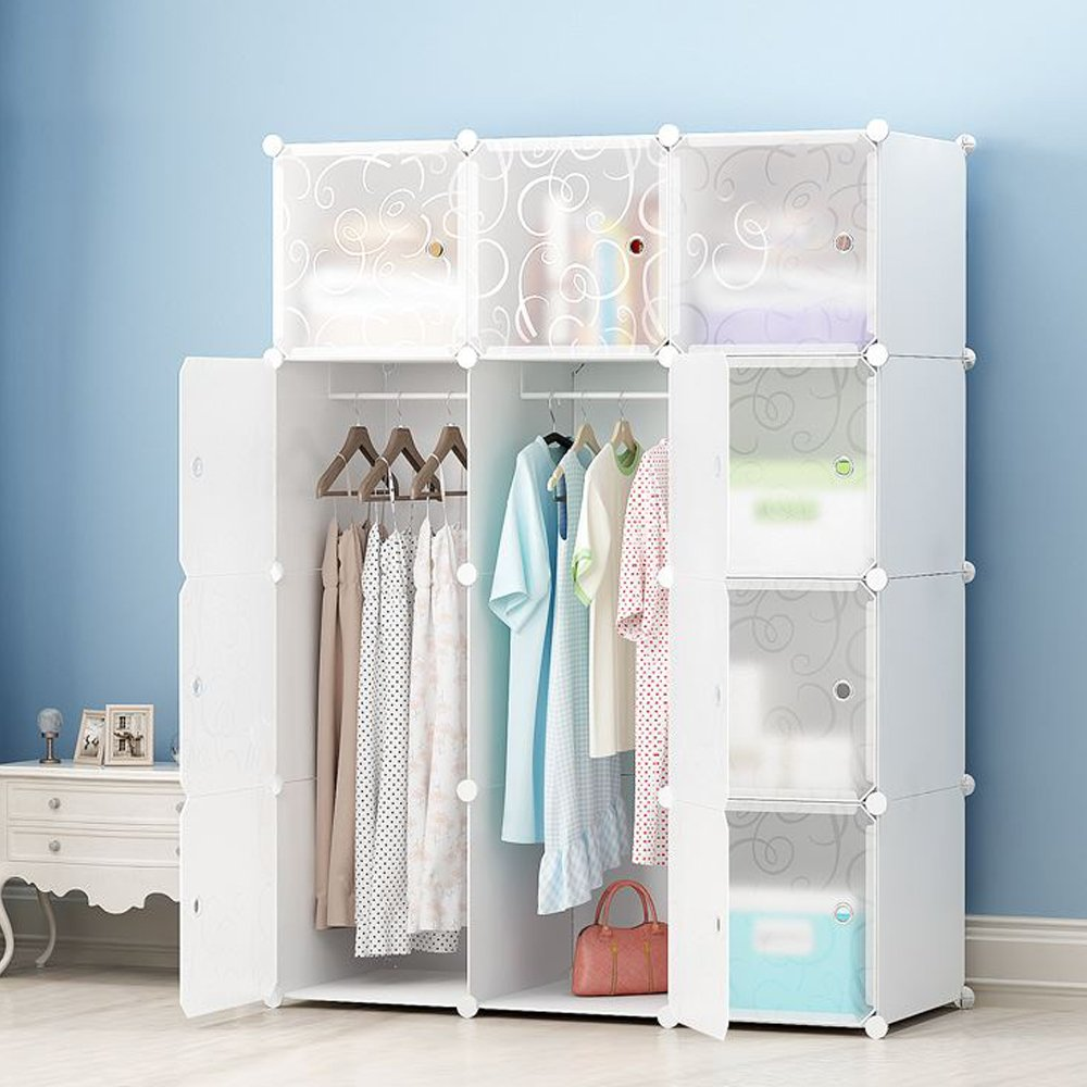 JOISCOPE DIY Portable Wardrobe Clothes Closet Modular Storage Organizer Space Saving Armoire Deeper Cube With Hanging Rod 12 cubes