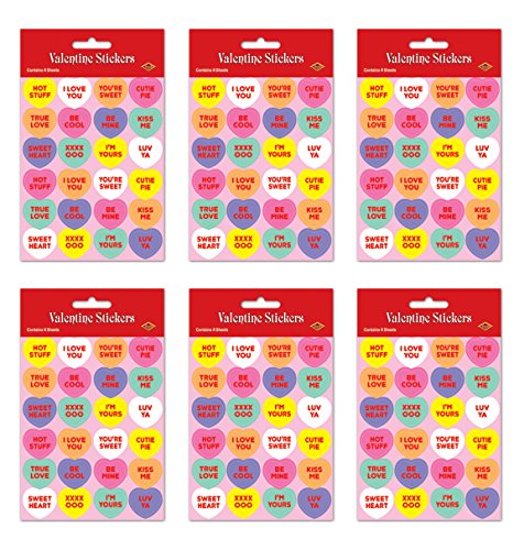 7.5' Heart (Beistle S74005AZ6, 24 Sheets Candy Heart Stickers, 4.75'' x 7.5'')