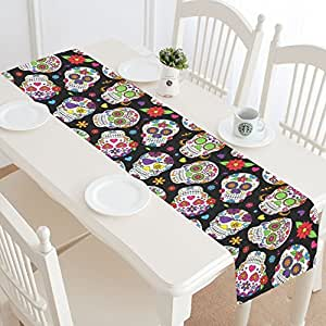 InterestPrint Halloween Sugar Skull Table Runner Home Decor 14 X 72 Inch,Day of the Dead Table Cloth Runner for Wedding Party Banquet Decoration