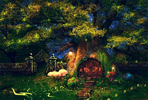 CSFOTO 5x3ft Background for Wonderful Land House Inside Tree Photography Backdrop Fantasy Forest Glowworm Enchanted Garden Mushroom Night Fairy Tale Studio Props Child Kid Portrait Wallpaper (Enchanted Fairy Forest)