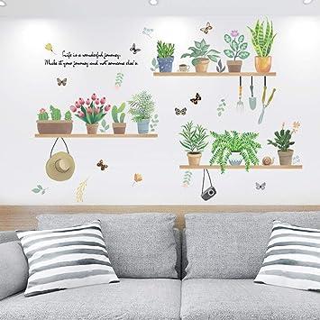 Yirenfeng Sala de estar cálido pequeño jardín fresco en maceta adornos pegatinas de pared autoadhesivas dormitorio cabecera decorativas pegatinas de pared: Amazon.es: Bricolaje y herramientas