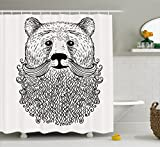 Ambesonne Indie Shower Curtain, Doodle Style Sketch Bear Portrait with Curly Beard and Mustache Cute Cool Animal, Fabric Bathroom Decor Set with Hooks, 84 Inches Extra Long, Black White