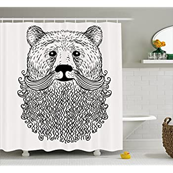 Amazon.com: Ambesonne Indie Shower Curtain, Doodle Style Sketch Bear ...