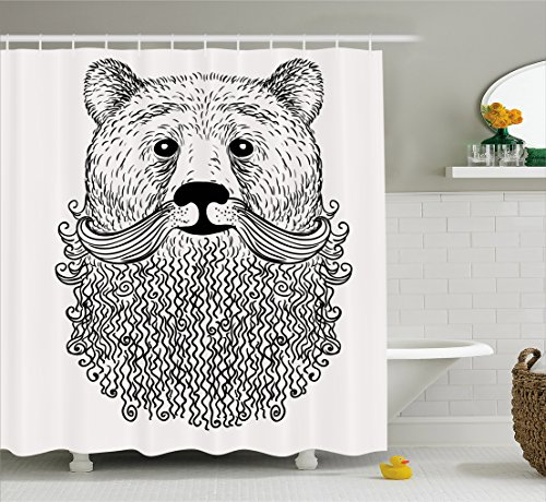 Indie Shower Curtain by Ambesonne, Doodle Style Sketch Bear Portrait with Curly Beard and Mustache Cute Cool Animal, Fabric Bathroom Decor Set with Hooks, 84 Inches Extra Long, Black - Styles Mustache Beard &