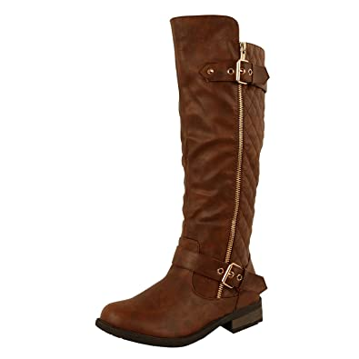 Amazon.com | Guilty Shoes - Womens Quilted Zipper Accent Riding ... : quilted biker boots - Adamdwight.com