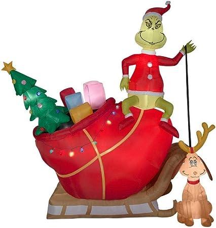 CHRISTMAS SANTA 8 FT DR SEUSS THE GRINCH MAX DOG  AIRBLOWN INFLATABLE YARD DECOR